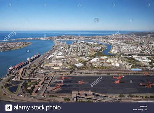 Newcastle Port coal operation © Stock Photo)