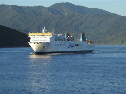 North/South Island ferry arriving in Picton