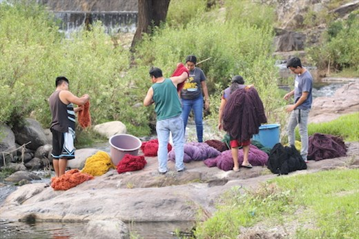 Villagers from Teotitlán del Valle washing wool for rugs