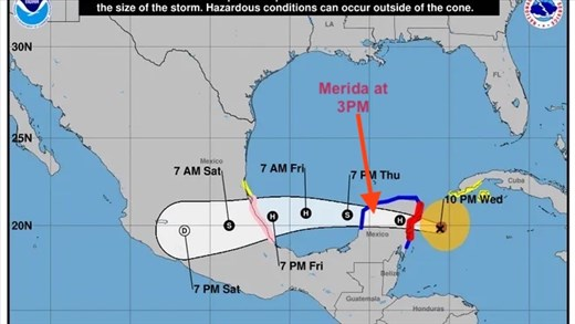 On a collision course with Hurricane Grace at Merida
