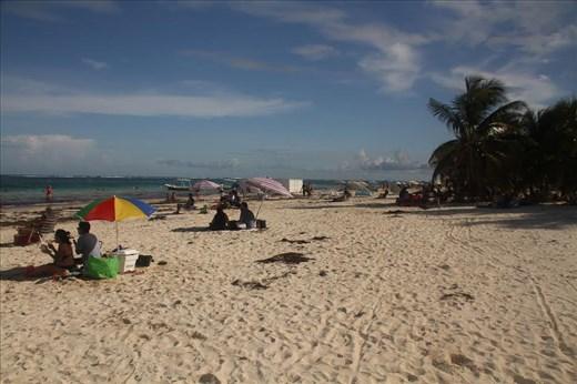 Enjoying the sugar sand, Puerto Morelos