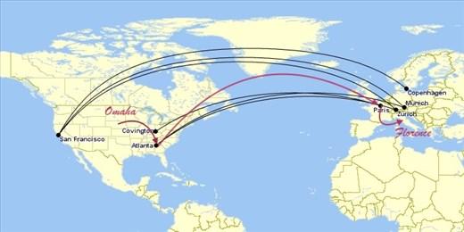 OMA-ATL-CDG-FLR (Omaha-Atlanta-Paris-Florence)