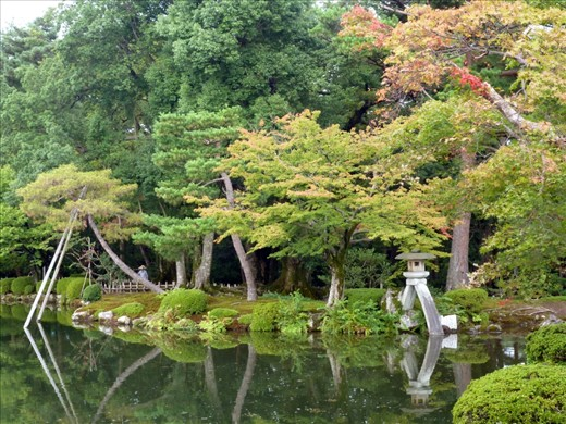 This is one of the beautiful public parks that are scattered throughout Kanazawa.   It lends a contast to the bright, busy city