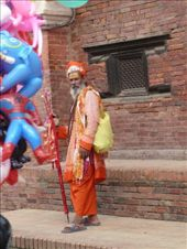 Sadhus consistently offer tikkas (a splash of colour on the forehead)...for a price of course.  It was a challenge to fight them off as their red-dyed fingers zoned in on your forehead.: by gretch_costa, Views[212]