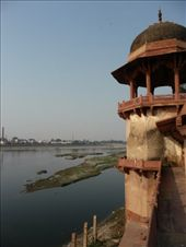 Yamuna River from the Baby Taj - a small delicate building similar to the big daddy.  Awesome marble inlay work: by gretch_costa, Views[162]