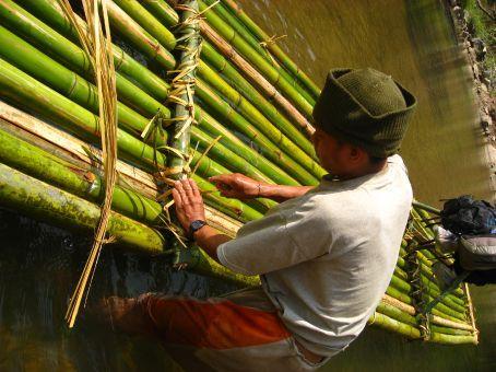 Preparing for bamboo rafting