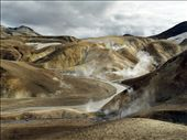These 4 pictures have been taken in Kerlingarfjöll which is a mountain range in the middle of the Icelandic Highlands, reach by Road 35 (S-W of the Hofsjökull glacier) only 3 or 4 month per year.   ''Fjöll' means mountains and 'Kerling' means old lady ( in a sense of 'witch'). The name of the area, inspired by ancient folk tales, come from a 25m high volcanic tuff stone pillar. It is said that an old troll lady was caught out by the sunrise and therefore turned to stone.  The area was hardly ever visited before the past century both because it was very remote, but also because it was thought to be the homeland of trolls and the only people that would venture there were thieves and outlaws.: by guillaumefandel, Views[547]