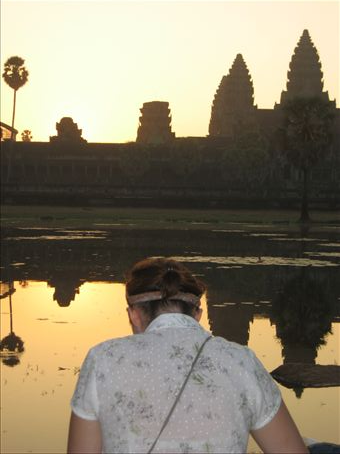 Got up at 5am for this one.  Sunrise over Angkor Wat.  WOW. Hannah painting the scenery.