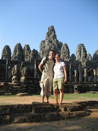 Jason and I outside of Bayon, the MAssive Temple with the most amazing head sculptures all over it.