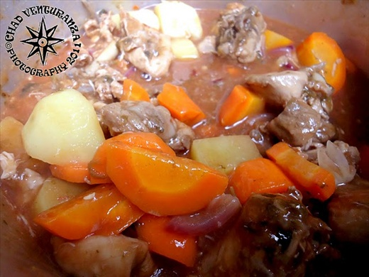 Lunch, Beef with carrots and potato with tomato sauce