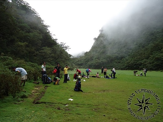 everyone is getting ready for another day trekking on the mountains.
