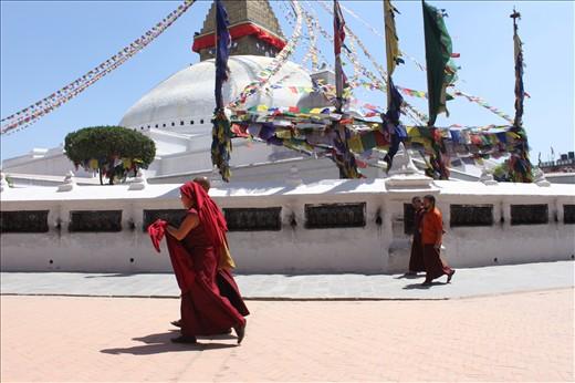 Devotees at the Swayambhunath Stupa, Kathmandu.