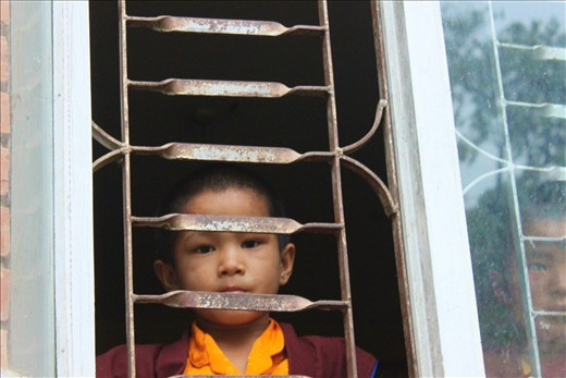 A baby Monks at the Tashi Palkhiel Tibetan Refugee Camp, Pokhara.