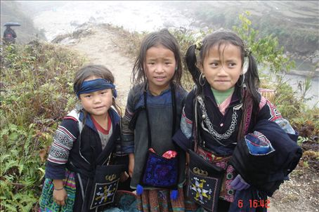 These 3 are coming home with us! H'Moung girls in Sapa northern Vietnam.