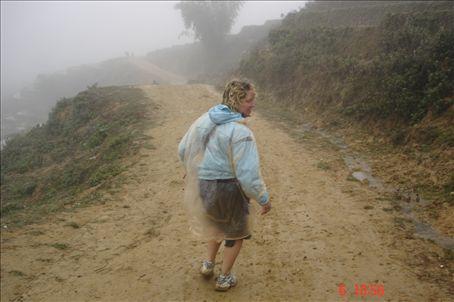 Sarah, mountain runner extroadinaire, jogging through Sapa.