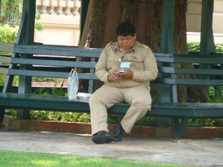 Astutely guarding the Mansion at The Grand Palace (not texting/napping)