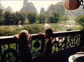 Room with a view of the Li River. We got to splash in the water to cool down and enjoy the wonderful food and comfortable beds of the eco river retreat hotel.: by hannap, Views[137]