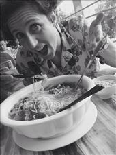 This restaurant in downtown Guilin where we ate two evenings in a row was amazing, but we kept ordering too much food. This bowl of noodles I ordered could have fed a family! : by hannap, Views[265]