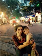 Hanoi streets by night, when you cross, go slowly so that scooters can go around you.: by hannap, Views[110]