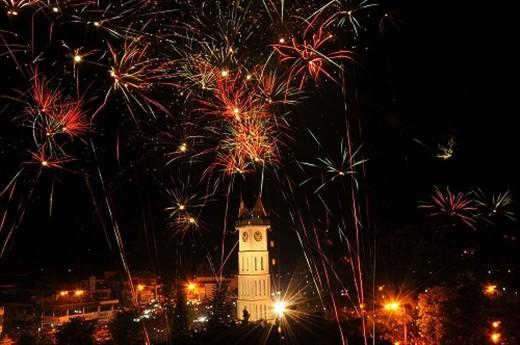 New Year Eve at Jam Gadang (Clock Tower) Bukittinggi, West Sumatera