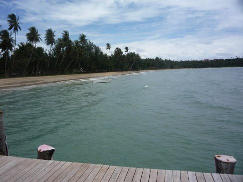 from the jetty along the beautiful beach, my bungalow is about halfway along there