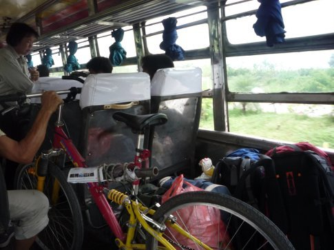 I love these old buses, room for packs and bikes, and if you can get the back seat, room to spread out!