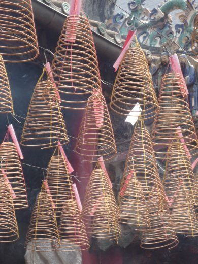 incense burning in a pagoda