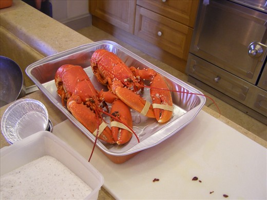 ..two cooked lobsters..