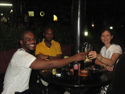 Overlooking the ocean at La Palm hotel, Gerald, Tayo and I drink to our future success