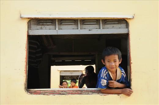 taking the train in Myanmar