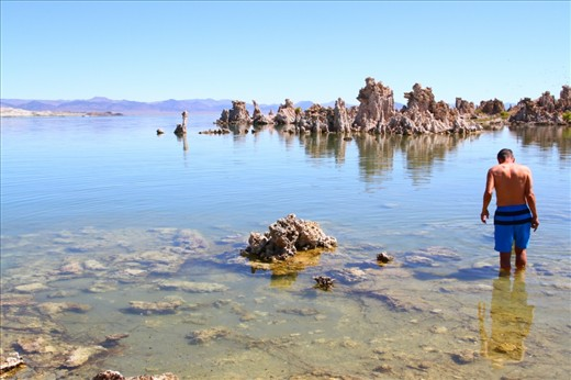 Saline Swim: The beauty of Mono Lake's unique geology draws thousands of tourists every year, some of whom enjoy its saline waters.