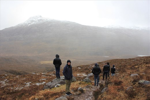 Walking through the Benn Eighe National Nature reserve.  Half the group were pansies and didn't do this walk because it was raining.. the rain hit our faces so hard it hurt!..but then.. it snoooowed!