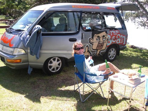 Nicola and Mr Bean, Bay of Islands Camp Site.
