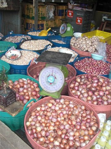 Onions and garlic at the local market