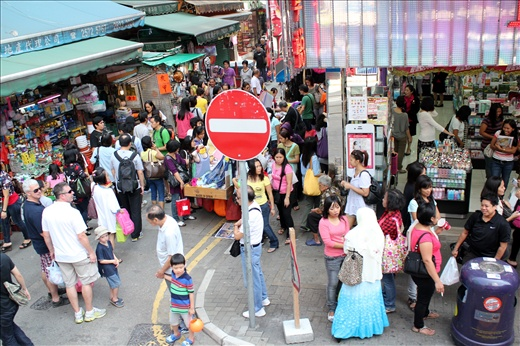Crowds shopping in downtown Wan Chai