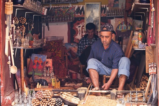 More than 40,000 craftsmen work in The Medina, the historic Marrakech city centre, shielded by wooden latticework or tucked away in covered walkways.