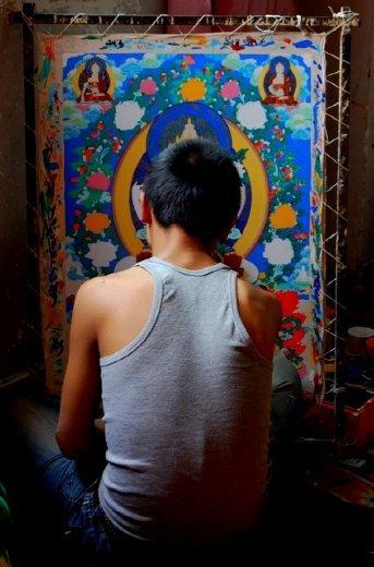 Thangka artist in Repkong