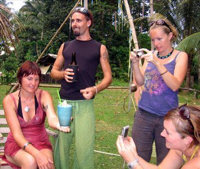 Gemma, Adam, Sarah and Heather marvel at a magic mushroom shake.