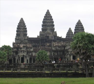 The best angle I could get from the ground of Angkor Wat.