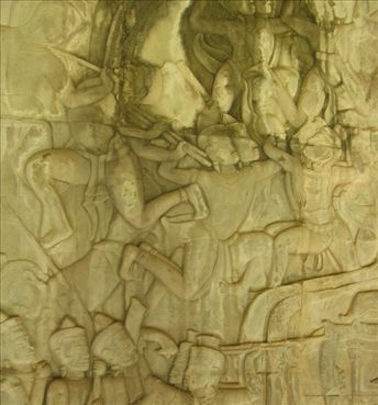 A bas relief on the walls of Angkor Wat.