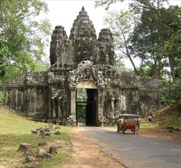 Victory Gate at the edge of the massive Angkor Thom walled city.