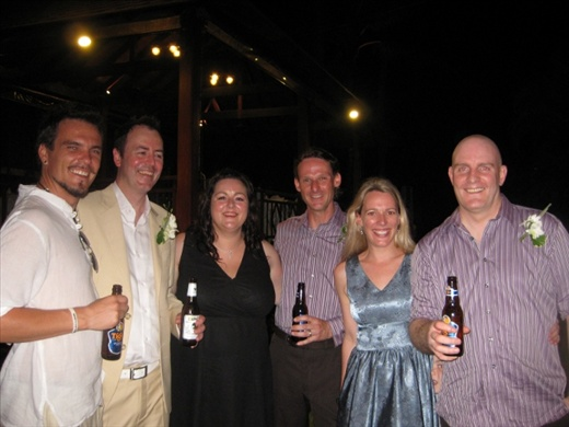 Yours truly, Elliot, Gow's wife Kellie, Simon, his wife Tanya and Gow, beered up and looking for trouble.