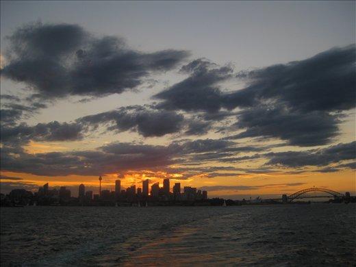 A setting sun makes even a cityscape look pretty