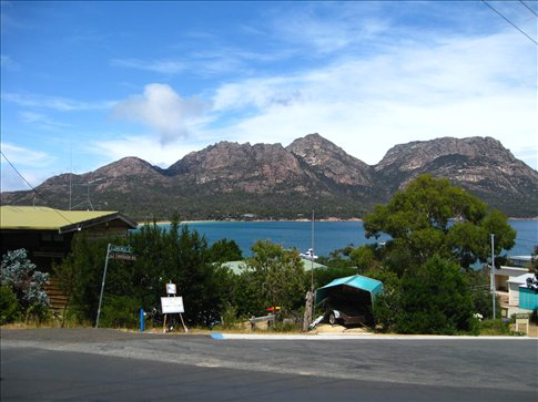 The beautiful view of the Hazard Mountains enjoyed by Coles Bay residents.