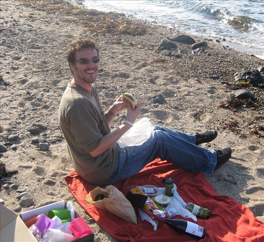 Me and the famous veggie burger on a beach just outside of Penguin