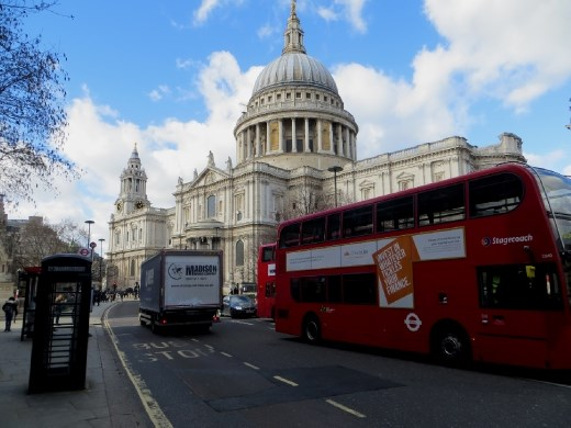 St. Paul's Cathedral, a telephone booth and a double decker bus; as London as it gets!