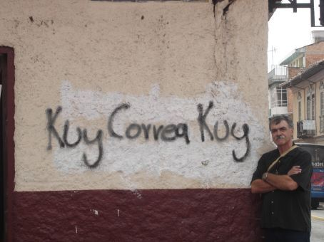 My dad supporting Rafael Correa, who was running for president at this point.
