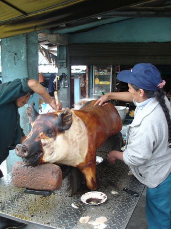 The traditional way of cooking pork in Cuenca.