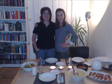 Our awesome host Birgit and Jessica before wonderful dinner.