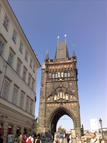 entrance to the famed charles bridge in prague